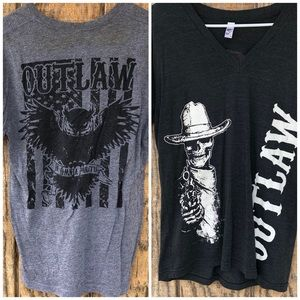 2 Outlaw Way CrossFit Barbell T Shirts Medium